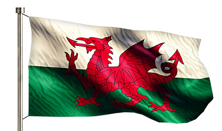 anthem: Wales National Flag Isolated 3D White Background Stock Photo