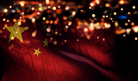 China National Flag Light Night Bokeh Abstract Background photo