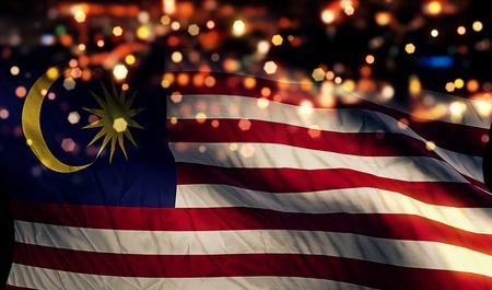 independencia: Malasia Bandera nacional Luz Noche Bokeh Resumen Antecedentes