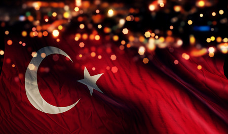 Turkey National Flag Light Night Bokeh Abstract Background Stock Photo