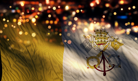Vatican National Flag Light Night Bokeh Abstract Background photo