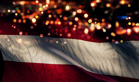 Austria National Flag Light Night Bokeh Abstract Background photo