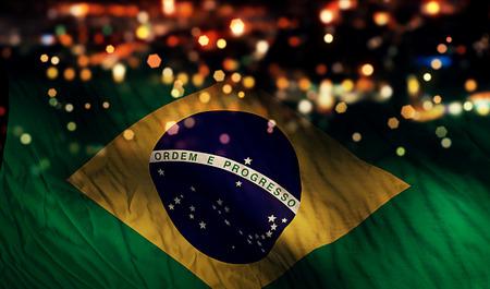 ブラジル国旗光夜ボケ抽象的な背景 写真素材