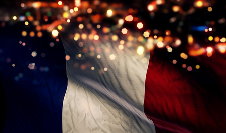 France National Flag Light Night Bokeh Abstract Background photo