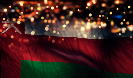 oman background: Oman National Flag Light Night Bokeh Abstract Background