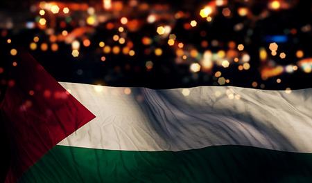 パレスチナの国旗光夜ボケ抽象的な背景