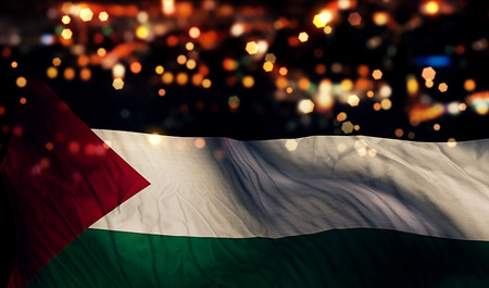 Palestine National Flag Light Night Bokeh Abstract Background