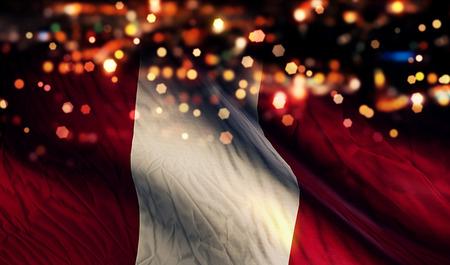 Peru National Flag Light Night Bokeh Abstract Background photo