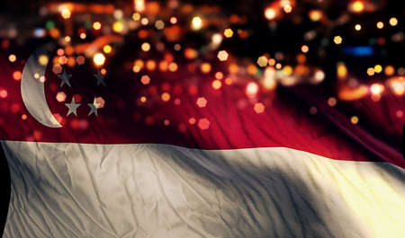 singaporean flag: Singapore National Flag Light Night Bokeh Abstract Background