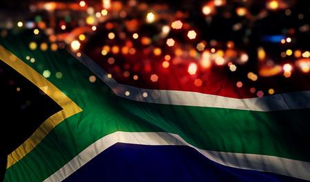 남아프리카 공화국의 국기 빛 밤 보케 추상적 인 배경 스톡 콘텐츠