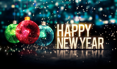 新年あけましておめでとうございます掛かるつまらないものはボケ味の美しい 3 D をブルーします。 写真素材