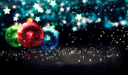 つまらないクリスマス ブルー スターの夜ボケ味の美しい 3 D をぶら下げ
