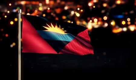 antigua: Antigua and Barbuda Flag City Light Night Bokeh 3D