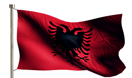 independence day: Albania National Flag Isolated 3D White Background