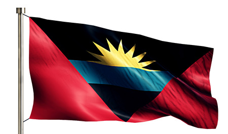 flagged: Antigua and Barbuda National Flag Isolated 3D White Background Stock Photo