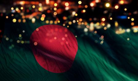 バングラデシュの国旗光夜ボケ抽象的な背景