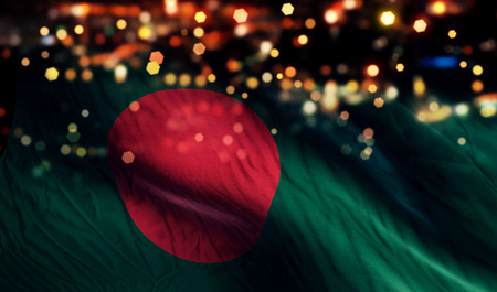 bangladesh: Bangladesh National Flag Light Night Bokeh Abstract Background Stock Photo