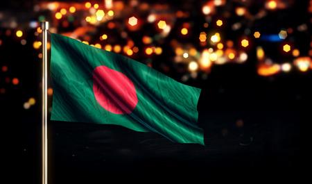 バングラデシュ国立フラグ市光夜背景のボケ味の 3D