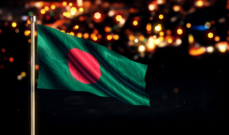 Bangladesh National Flag City Light Night Bokeh Background 3D
