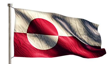 nuuk: Greenland National Flag Isolated 3D White Background Stock Photo