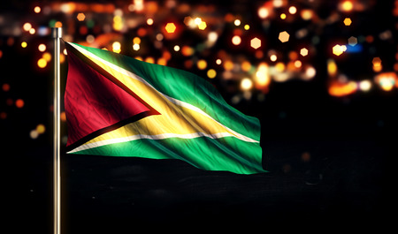 Guyana National Flag City Light Night Bokeh Background 3D photo