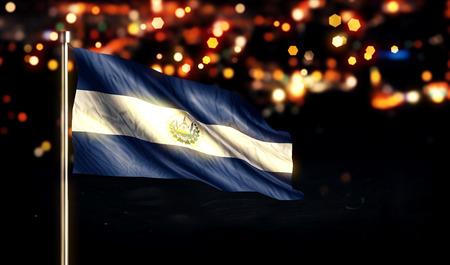El Savador National Flag City Light Night Bokeh Background 3D photo
