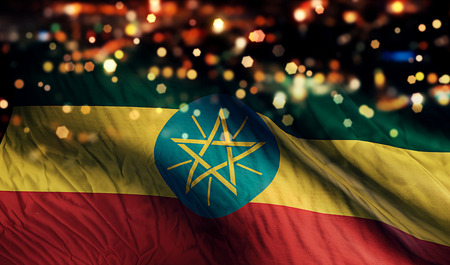 ethiopia abstract: Ethiopia National Flag Light Night Bokeh Abstract Background