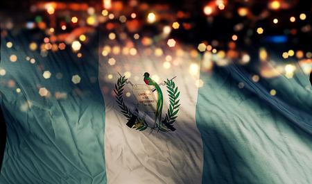 グアテマラの国旗光夜ボケ抽象的な背景 写真素材