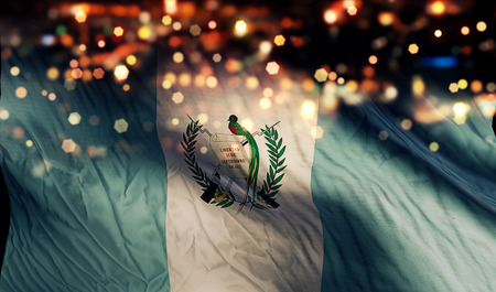 Guatemala National Flag Light Night Bokeh Abstract Background Stock Photo