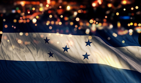 Honduras National Flag Light Night Bokeh Abstract Background photo