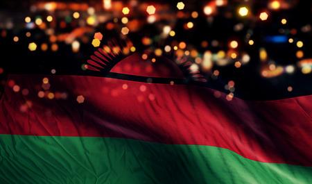 malawian flag: Malawi National Flag Light Night Bokeh Abstract Background