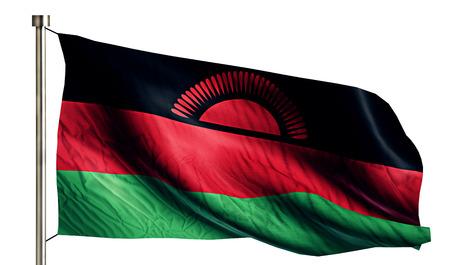 flagged: Malawi National Flag Isolated 3D White Background Stock Photo