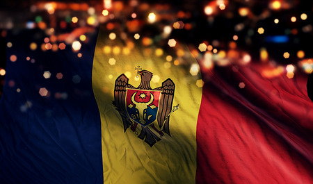 Moldova National Flag Light Night Bokeh Abstract Background photo