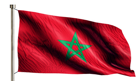 anthem: Morocco National Flag Isolated 3D White Background Stock Photo