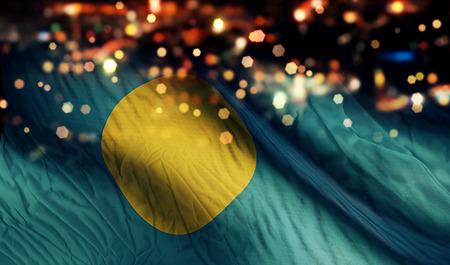 Palau National Flag Light Night Bokeh Abstract Background photo