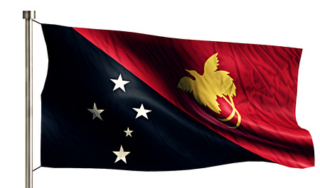 new guinea: Papua Nuova Guinea Bandiera nazionale isolato sfondo bianco 3D Archivio Fotografico