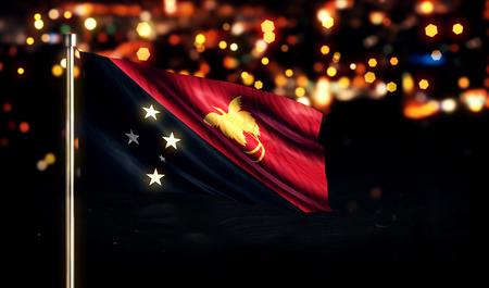 Nuova Guinea: Papua Nuova Guinea Bandiera nazionale Citt� Luce Notte Bokeh Background 3D