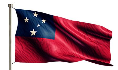 flagged: Samoa National Flag Isolated 3D White Background Stock Photo