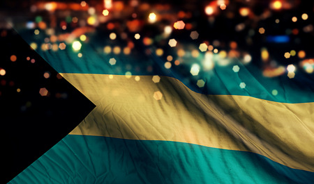 Bahamas National Flag Light Night Bokeh Abstract Background photo