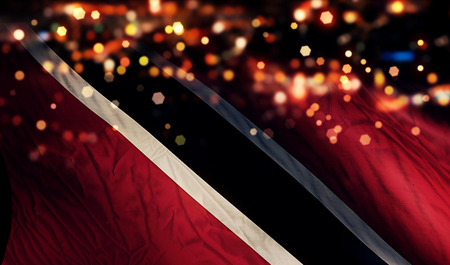 national flag trinidad and tobago: Trinidad and Tobago National Flag Light Night Bokeh Abstract Background