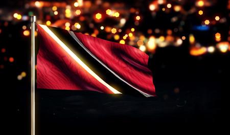 national flag trinidad and tobago: Trinidad and Tobago National Flag City Light Night Bokeh Background 3D