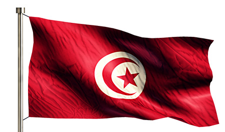 anthem: Tunisia National Flag Isolated 3D White Background Stock Photo