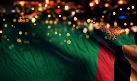 zambian: Zambia National Flag Light Night Bokeh Abstract Background