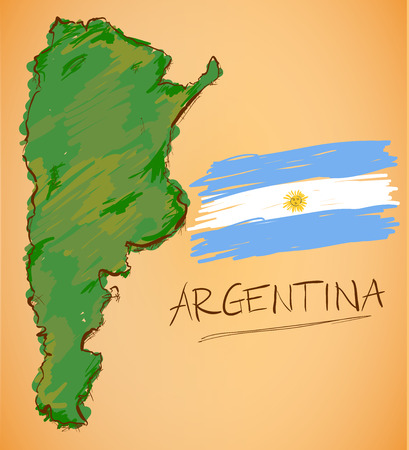argentina map: Argentina Map and National Flag Vector