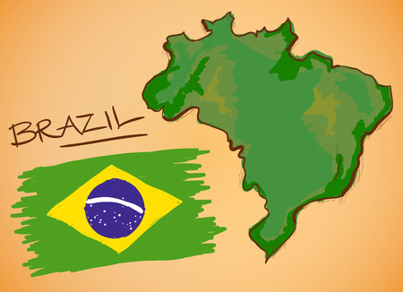 brazil map: Brazil Map and National Flag Vector Illustration