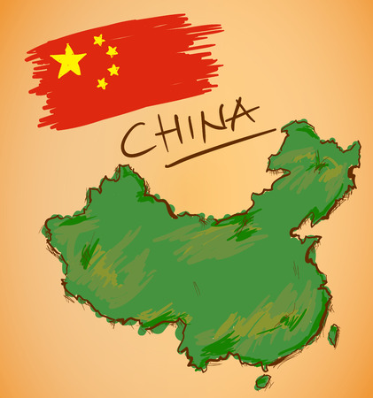 china watercolor paint: China Map and National Flag Vector