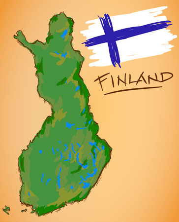 Finland Map and National Flag Vector