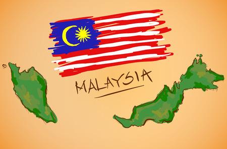 マレーシアの地図と国旗ベクトル  イラスト・ベクター素材