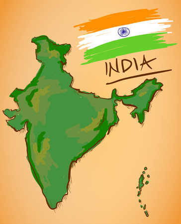 indian flag: India Map and National Flag Vector