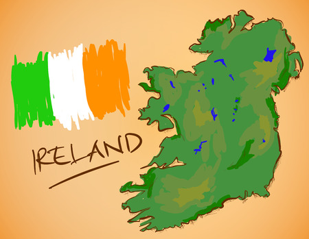 ireland map: Ireland Map and National Flag Vector